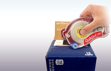 The QuikDot Pro was designed to reseal food & beverage cartons. It uses re-fillable rolls of Glue Dots® for quick and easy sealing of cases and cartons.